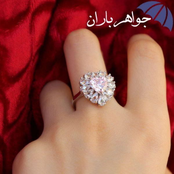 انگشتر نقره زنانه دور جواهری