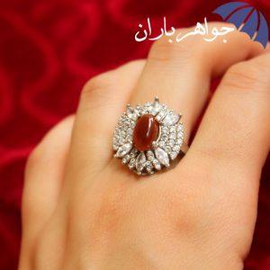 انگشتر عقیق یمنی زنانه مدل گل
