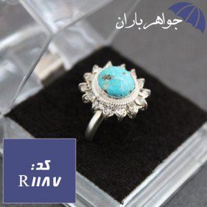 انگشتر فیروزه دور جواهری زنانه