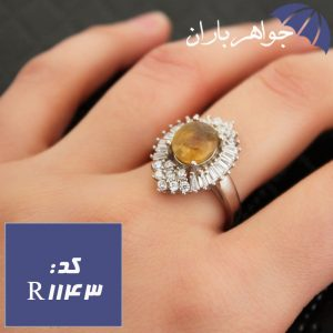 انگشتر یاقوت زرد خوشرنگ زنانه