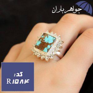 انگشتر فیروزه نیشابوری شجری دور جواهری زنانه