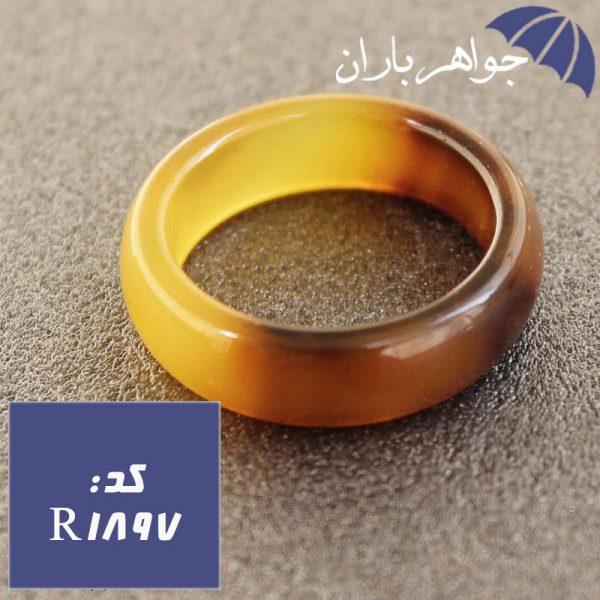 حلقه عقیق زرد طرح دار