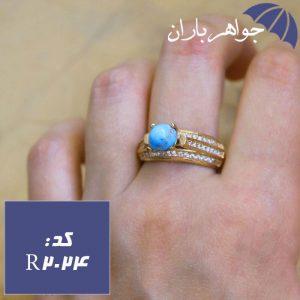 انگشتر طلاروس فیروزه نیشابور اصل زنانه