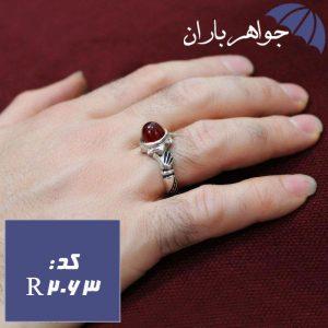 انگشتر دست و دلبر با نگین عقیق قرمز اصل دامله