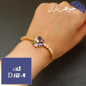 دستبند استیل طلایی زنانه مدل گل