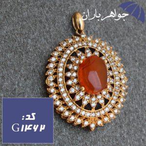 گردنبند طلاروس عقیق یمنی اصل زنانه