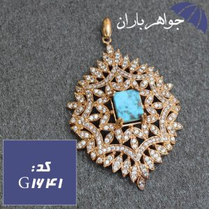 گردنبند طلاروس فیروزه نیشابوری اصل زنانه خوشرنگ