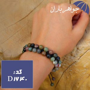 دستبند بافت دوبل عقیق خزه ای اصل خوشرنگ